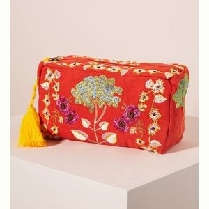 Anthropologie Blossom Embroidered Pouch